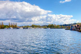 Lake Washington. Boat houses — Stock Photo