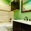 Elegant green bathroom — Stock Photo