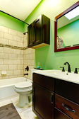 Elegant green bathroom — Stock Photo
