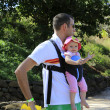 Stock Photo: Summer walk. Father with his lovely daughter