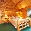 Cozy bedroom in log cabin house — Stock Photo