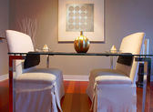 Elegant dining table set in a modern living room — Photo