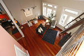 Reconstructed modern living room. Panoramic view — Stock Photo