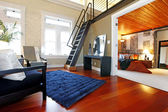 Reconstructed modern bedroom and living room — Stock Photo