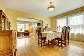 Spacious wood carved dining room — Photo