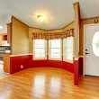 House interior with red wood plank wall trim — Stock Photo #43076427