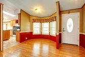 House interior with red wood plank wall trim — Stock Photo