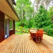 Backyard deck overlooking amazing nature landscape — Stock Photo