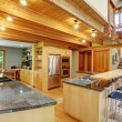 Log cabin style. Kitchen interior — Stock Photo