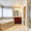 Modern bathroom with round tub and shower — Stock Photo #43991991