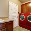 Laundry room with modern red appliances — Stock Photo #43992297