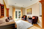 Living room area with door to backyard — Stock Photo