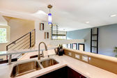 View of kitchen corner and stairs — Stock Photo