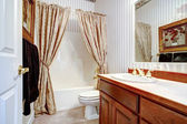 Warm cozy bathroom with curtains — Stock Photo
