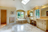Luxury bathroom with antique vanity and cabinets — Stock Photo
