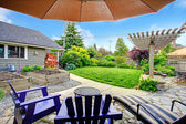 Backyard view from patio area — Stock Photo