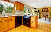 Küche-kabinette mit schwarzen herd und washdisher — Stockfoto