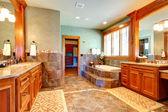 Luxury bathroom with tile wall trim — Zdjęcie stockowe