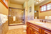 Beautiful bathroom with tile wall trim — Stockfoto