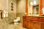 Green and gold bathroom interior — Foto de Stock
