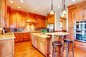 Luxury gold kitchen room — Stock Photo