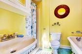 Yellow bathroom interior — Foto Stock