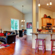 House interior. Open floor plan panoramic view — Stock Photo #46061071