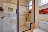 Bathroom with screened shower — Stock Photo
