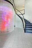 Modern foyer with glass block wall trim — Stock Photo