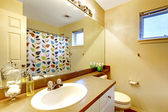 Bathroom vanity with sink and mirror — Foto Stock