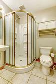 Koupelna se sprchový kout sklo dveří — Stock fotografie