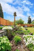 Backyard landscaping.  Flower beds — Stock Photo