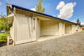 House backyard. View of garage and driveway — Stock Photo