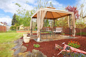 Backyard with gazebo. — Stock Photo