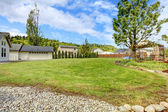 Large backyard with gazebo — Stock Photo