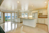 House interior. Empty white kitchen room with walkout deck — Stock Photo