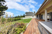 Backyard porch with landscape — Stock Photo