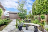 House exterior. Backyard porch and garden — Foto de Stock