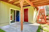 Backyard walkout deck — Stock Photo