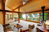 Log cabin house interior — Stock Photo