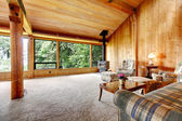 Log cabin living room — Stockfoto