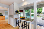 Kitchen room with walkout deck — Stock Photo