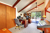 Loft office room with walkout deck — Foto de Stock