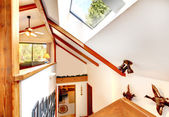 Log cabin house . View of ceiling with velux window from loft of — Stock Photo