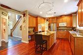 House interior. Elegant kitchen room interior — Stockfoto