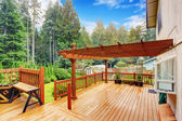 Walkout deck with attached pergola — Stock Photo