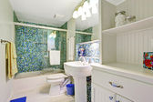 Refreshing white bathroom with aqua tile wall trim — Foto de Stock