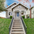 House exterior. View of entrance porch with staircase — Stock Photo #49902555