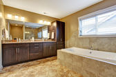 Modern bathroom interior with dark brown cabinets — Stock Photo
