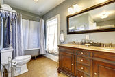 Antique bathroom interior with claw foot tub — Stock Photo